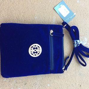Handbags - Last Call! Blue velvet crossbody purse